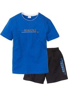 Мужская пижама (лазурный/черный) Bonprix