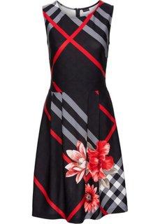 Клетчатое платье (красный/черный/серый с узором) Bonprix