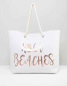 Пляжная сумка с золотистым принтом Hola Beaches South Beach - Золотой