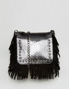 Серебристая кожаная фестивальная сумка через плечо с бахромой Urbancode - Черный
