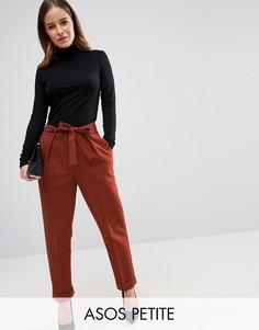 Тканые брюки-галифе с поясом оби ASOS PETITE - Коричневый