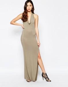Платье со свободным воротом Love - Зеленый