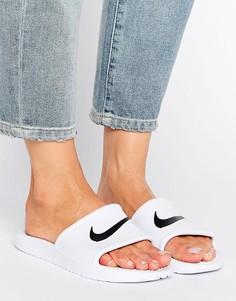 Белые шлепанцы с логотипом-галочкой Nike Kawa - Белый