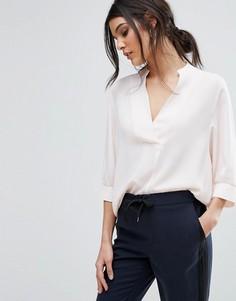 Розовая блузка с глубоким V-образным вырезом Selected - Розовый