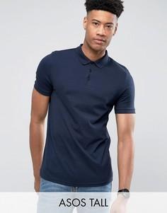 Темно-синяя футболка-поло ASOS TALL - Темно-синий