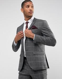 Приталенный пиджак в клетку на эластичной подкладке Selected Homme - Серый