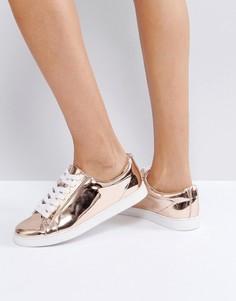 Розовато-золотистые кроссовки на шнуровке Faith - Золотой