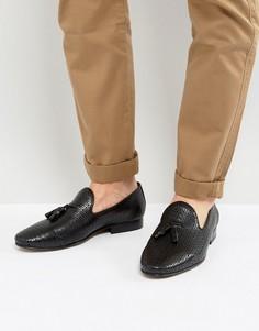 Кожаные лоферы с кисточками Walk London Harry - Черный