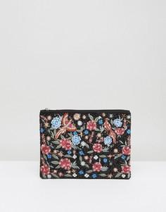 Клатч с вышивкой в виде цветов и птиц Boohoo - Черный