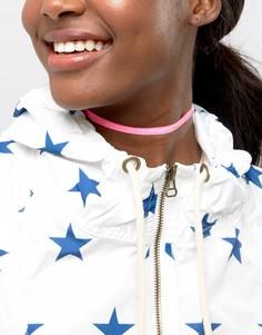 Бархатное ожерелье-чокер неонового цвета ASOS - Розовый