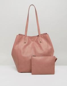 Мягкая сумка-шоппер со съемным клатчем ASOS - Розовый
