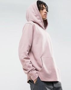 Oversize-худи светло-розового цвета с накладным карманом Mennace - Розовый