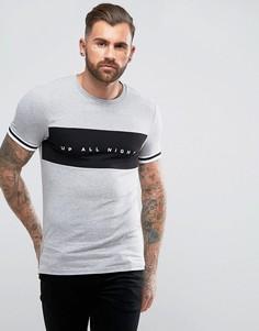 Обтягивающая футболка со вставкой с надписью ASOS - Серый
