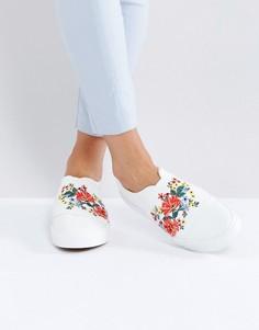 Кроссовки-слипоны с вышивкой New Look - Белый
