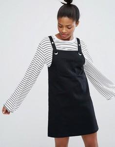 5cdd0aecc09 Джинсовое платье-комбинезон с пряжками Monki - Черный