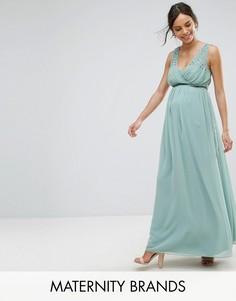 Платье макси с отделкй на талии Little Mistress Maternity - Зеленый