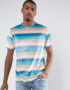 Удлиненная велюровая футболка в полоску пастельного оттенка ASOS - Мульти