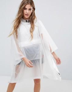 Прозрачный полиуретановый дождевик-пончо с карманом Hunter - Белый