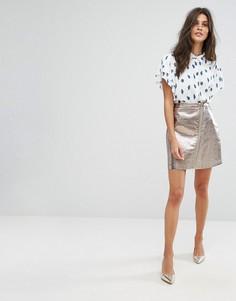 Мини-юбка металлик с молнией Suncoo - Серебряный