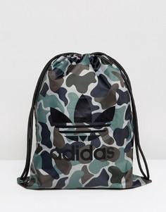 Спортивный рюкзак с камуфляжным принтом adidas Originals - Зеленый
