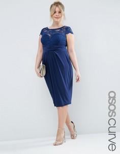 Платье миди со складками и кружевным топом ASOS CURVE WEDDING - Темно-синий