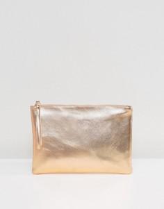 Розово-золотистый клатч металлик South Beach - Золотой