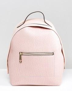 Рюкзак с эффектом крокодиловой кожи и монохромными ремешками Yoki - Розовый
