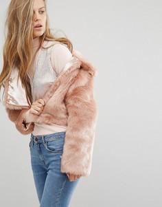 Розовый искусственный полушубок Miss Selfridge - Розовый