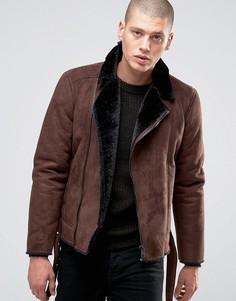 Байкерская куртка из искусственной овчины Barneys - Коричневый Barneys Originals