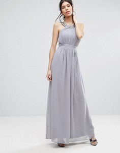 589b883e104 Шифоновое платье макси с отделкой Little Mistress - Серый с высокой талией