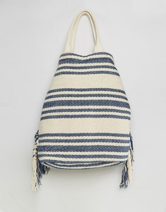 Фестивальный рюкзак в полоску цвета индиго с бахромой America & Beyond - Синий
