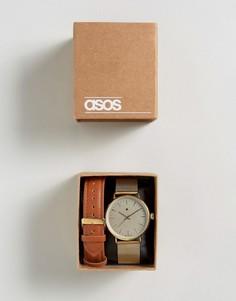 Золотистые часы со сменным плетеным дизайном ремешка ASOS - Мульти