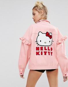 Джинсовая куртка с аппликацией на спине Lazy Oaf X Hello Kitty - Розовый