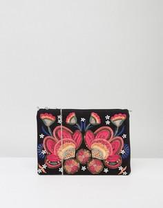 Клатч с цветочной вышивкой Boohoo - Черный
