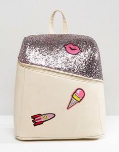 Рюкзак с блестками и фирменными нашивками 7X - Мульти