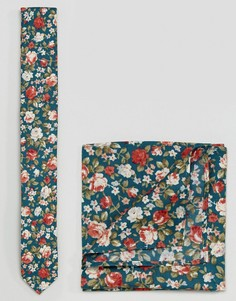 Галстук и платок паше с цветочным принтом ASOS - Синий