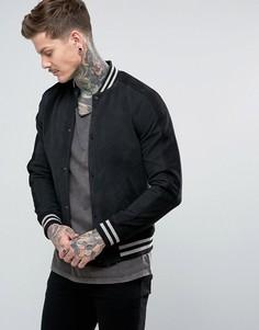 Кожаная университетская куртка AllSaints - Темно-синий