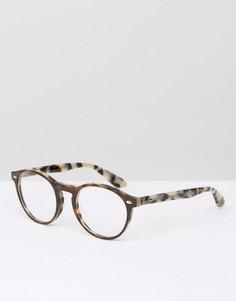 Черепаховые круглые очки с прозрачными стеклами Ray-Ban 0RX5283 2144 51 - Коричневый