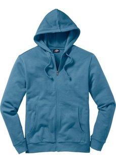 Трикотажная куртка стандартного покроя с капюшоном (синий) Bonprix