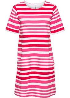 Трикотажное платье (белый/красный/ярко-розовый в полоску) Bonprix
