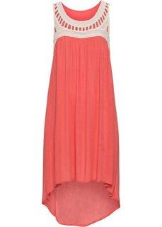 Платье с плетеным кружевом (песочный/коралловый) Bonprix