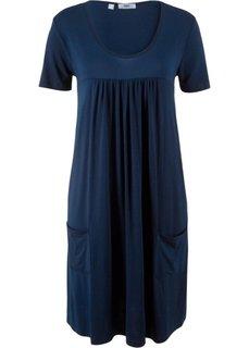 Трикотажное платье-блузон с коротким рукавом (темно-синий) Bonprix
