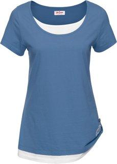Двухслойная футболка с коротким рукавом (синий джинсовый/белый) Bonprix