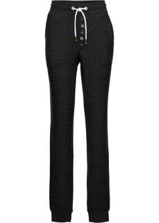 Трикотажные брюки (черный меланж) Bonprix