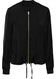 Куртка-бомбер из сатина (черный) Bonprix