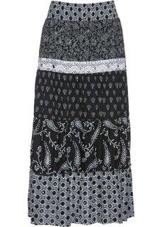 Ярусная юбка с принтом (черный/белый с рисунком) Bonprix