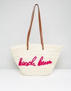 Соломенная сумка с надписью Missguided Beach Bum - Розовый