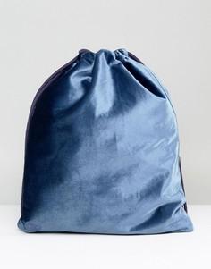 Сине-зеленый бархатный рюкзак с затягивающимся шнурком Mi-Pac - Синий