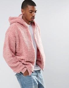 Оверсайз-худи из искусственного меха на молнии ASOS - Розовый