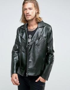 Байкерская куртка из искусственной змеиной кожи ASOS - Зеленый